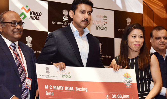 Commonwealth Games 2018, Minister of State Youth Affairs and Sports, Col Rajyavardhan Rathore,Mary Kom, MirabaiChanu, Neeraj Chopra, SumitMallik, Sushil Kumar, VineshPhogat, Rahul Aware, SainaNehwal, PV Sindhu, KidambiSrikanth, Deepika Pallikal , SouravGhosal, VikasKrishan, Gaurav Solanki, Manu Bhaker, Jitu Rai, TejaswiniSawant, Heena Sidhu, ManikaBatra, SAI