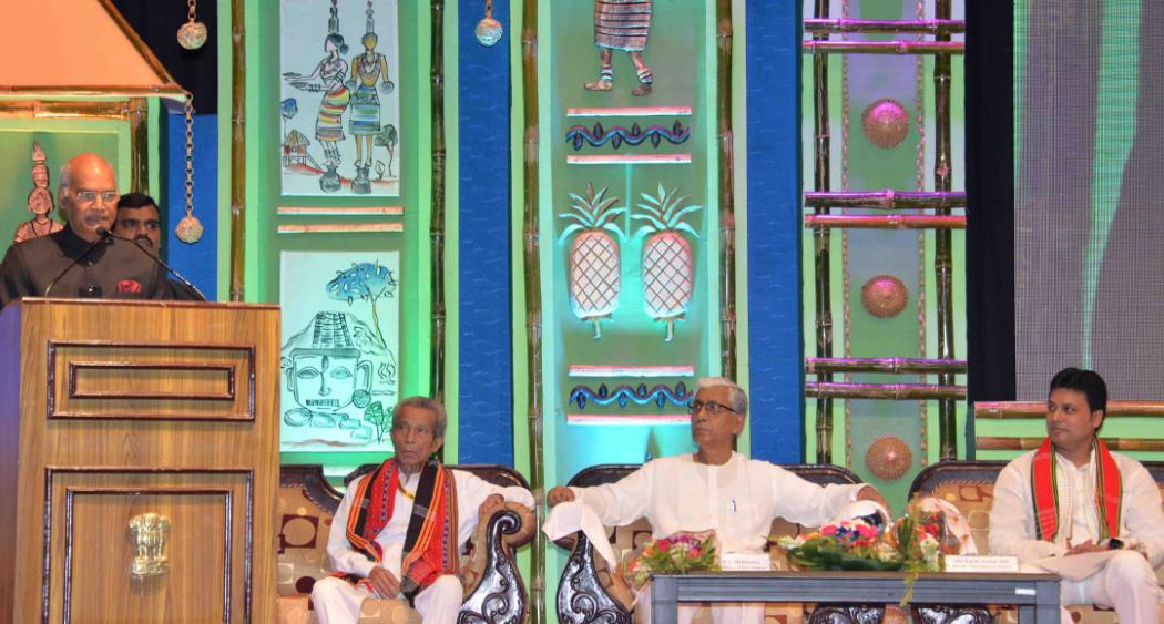 President, Ram Nath Kovind, Matabari Temple complex, Udaipur, Tripura ,Tathagata Roy,  Biplab Kumar Deb, Queen Pineapple,Maa Tripura Sundari
