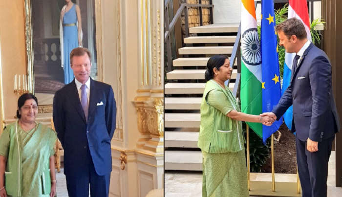 India-Luxembourg, Sushma Swaraj, Grand Duke of Luxembourg Henri Albert Gabriel Félix Marie Guillaume, Xavier Bettel, the Prime Minister of Luxembourg