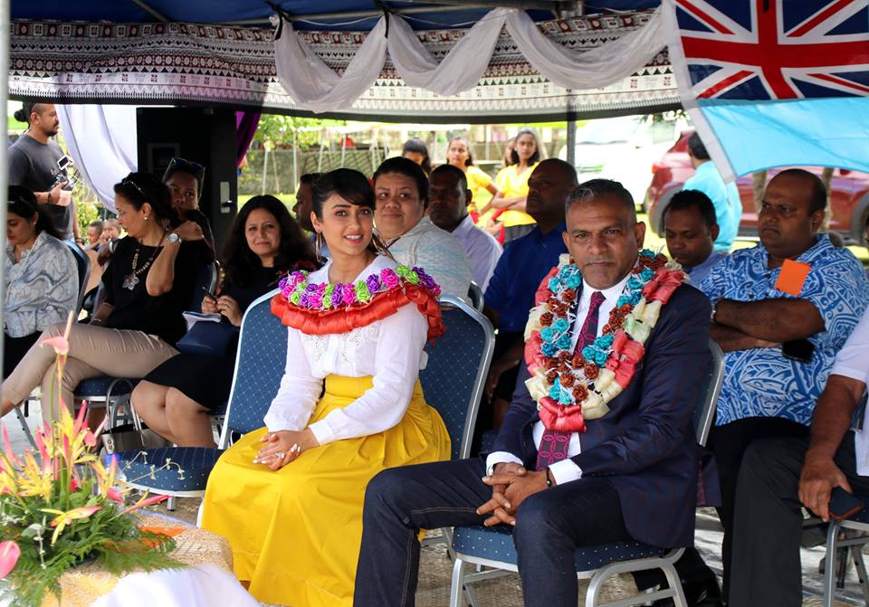 Minister for Industry, Trade, Tourism, Lands and Mineral Resources, Faiyaz Siddiq Koya with Tourism Fiji's brand ambassador, Ileana D'Cruz at Rampur Primary School in Navua watching the program.