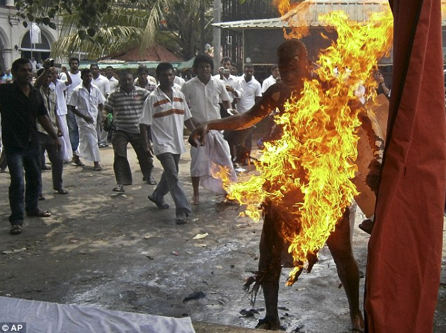 In May 2013, a Buddhist monk died after setting himself on fire to protest against the slaughter of cattle.
