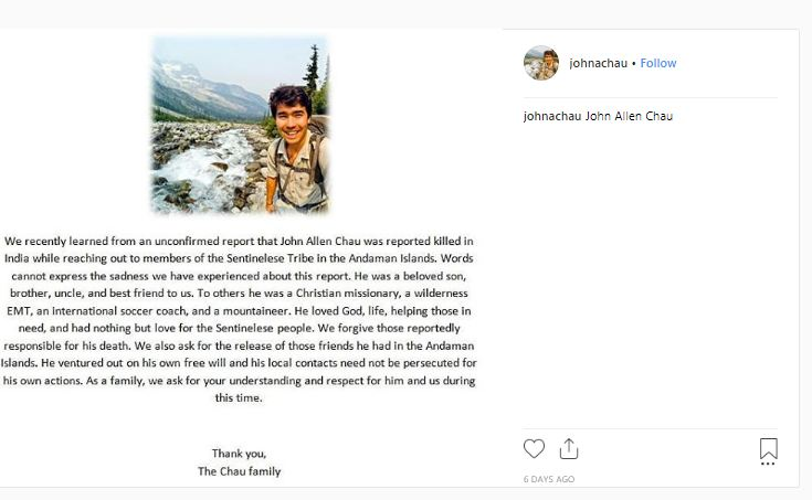 Sentinelese , India, John Chau, Christian Missionary murder, Tribal Rights, Intrusion, USA, Andaman and Nicobar, National Commission for Scheduled Tribes